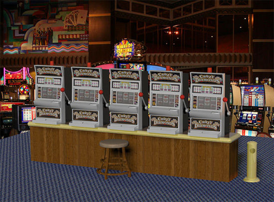 Picture of Casino Scene with Working Slot Machine Model Set