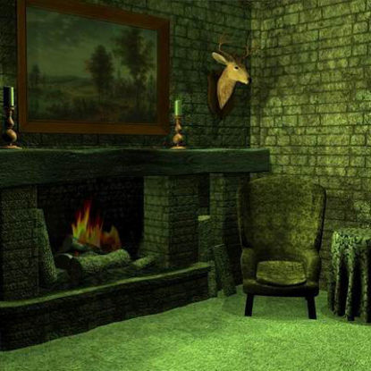 Picture of A Cozy Fireplace Corner Scene - Prop Set for Poser