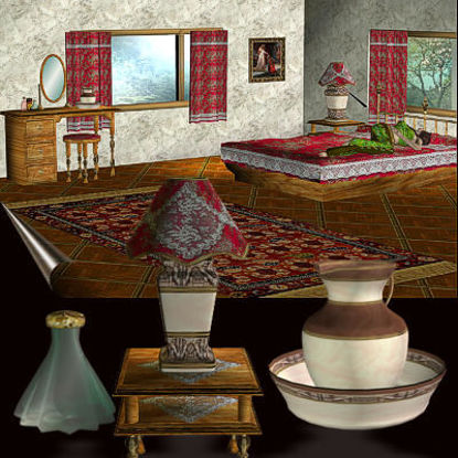 Picture of Spacious Country Bedroom Set for Poser