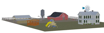 Picture of Mega Size Farm Scene with Farmhouse and Barn
