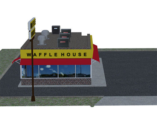 Picture of Waffle Restaurant and Parking Lot Scene