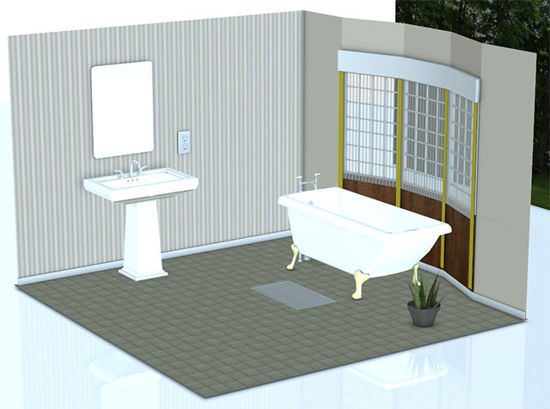 Picture of Comfortable Bathroom Scene with Removable Walls