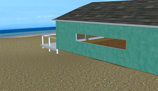 Picture of Interior and Exterior Beach House Scene - Poser and DAZ Studio Format