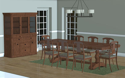 Picture of Formal Dining Room Scene with Movable Furniture - Poser and DAZ Studio Format