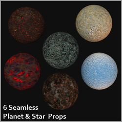 Six Seamless Planet and Star Props
