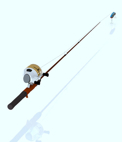 Picture of Fishing Rod and Lure Model Set with Morphs