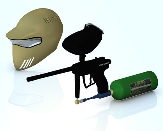 Picture of Paintball Gun and Helmet Models