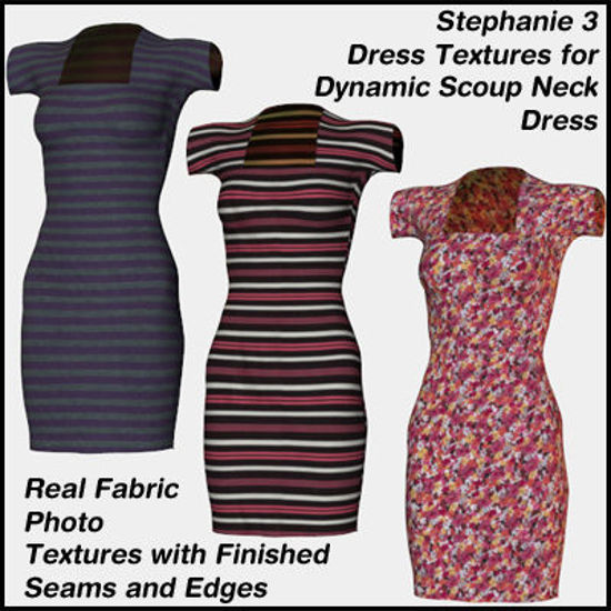 Picture of 3 Dress Textures for the Stephanie 3 Dynamic Scoupneck Dress