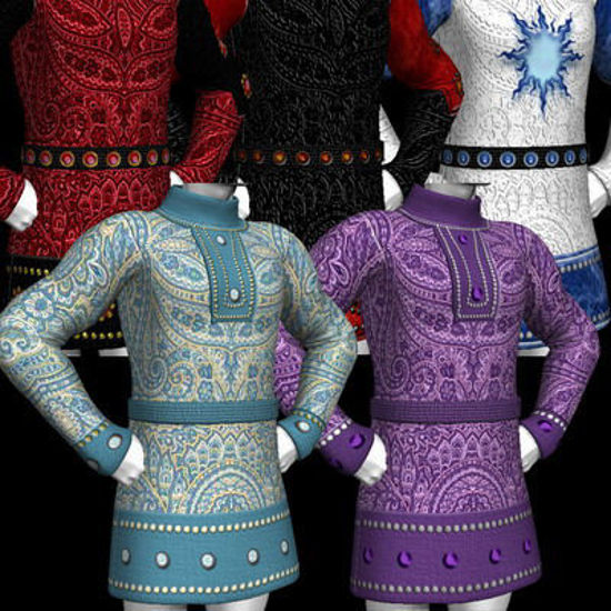Picture of A huge set of textures and MAT's for the DAZ Mike 3 tunic. - Deco