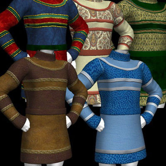 Picture of A huge set of textures and MAT's for the DAZ Mike 3 tunic. - stripe