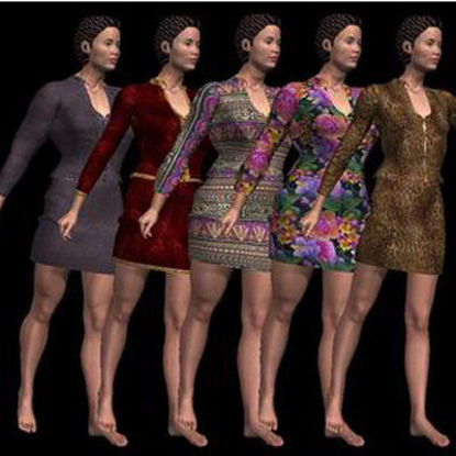 Picture of 6 Lindsay Outfit Textures - Material Pack for Lindsay Outfit for Poser