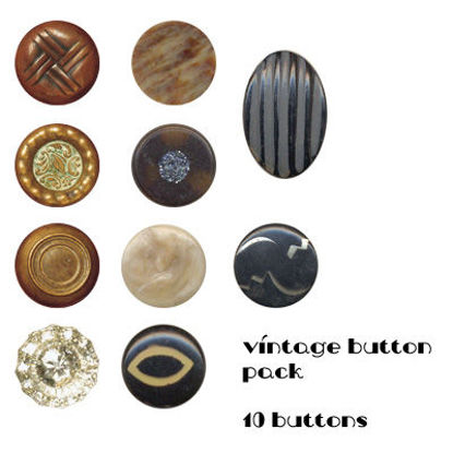 Picture of Vintage Buttons Photoshop Brushes and PNG Pack