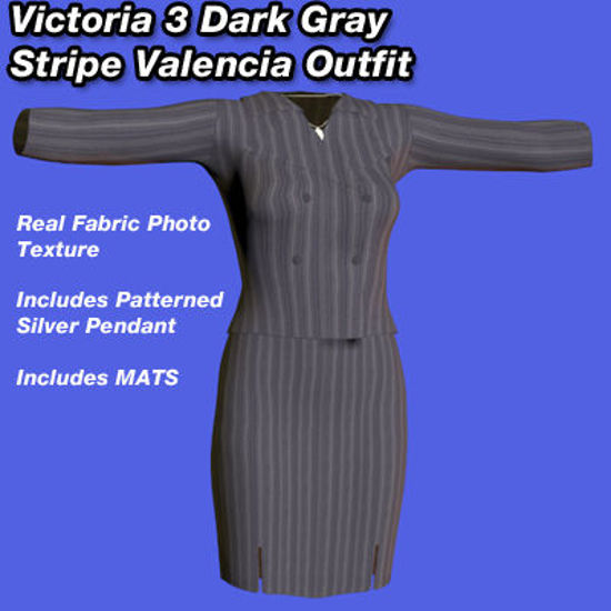 Picture of Dark Gray Valencia Outfit with Silver Pendant for Victoria 3