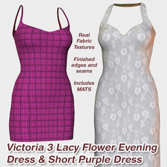 Picture of Victoria 3 Lacy Flower Evening and Short Purple Dresses