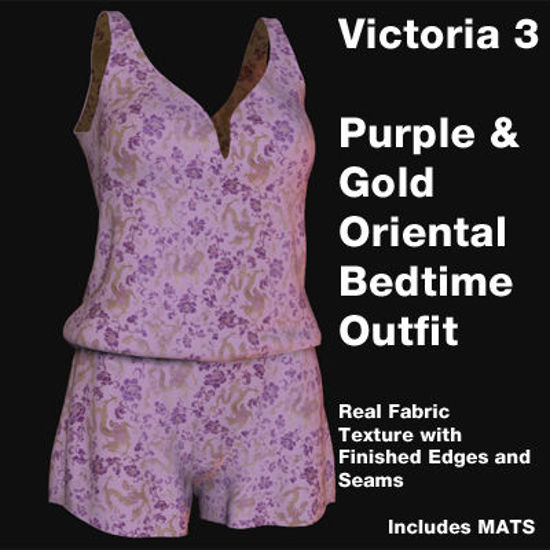 Picture of Victoria 3 Purple and Gold Oriental Bedtime Outfit