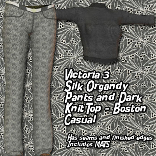 Picture of Victoria 3 Silk Organdy Pants and Dark Knit Top