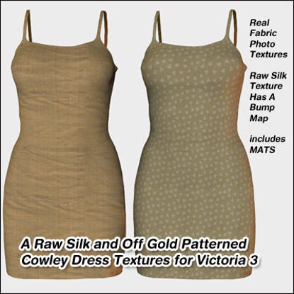 Picture of A Raw Silk and Off Gold Patterned Cowley Dress Textures for Victoria 3