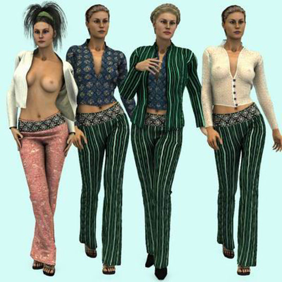 Picture of Dynamic Madrid Outfit for Victoria 3 with 5 Additional Texture Sets - Poser / DAZ 3D ( V3 )
