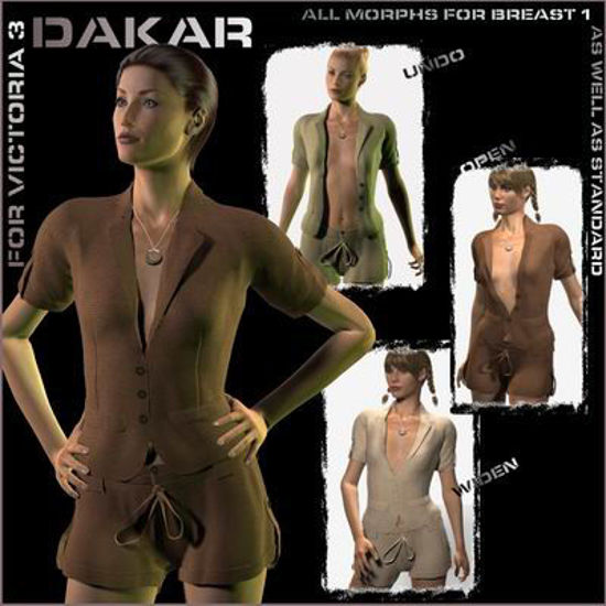 Picture of Dakar Outfit for Victoria 3 - Poser / DAZ 3D ( V3 )