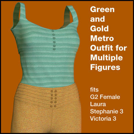 Picture of Gold and Green Metro for Multiple Figures - Poser G2, Laura, DAZ 3D V3, and SP3