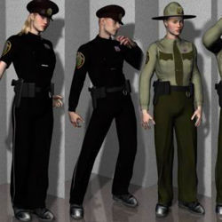 Female Police Cop Uniform for Multiple Figures - Poser / DAZ 3D (AM, M3, David, V3, V3 Rubanesque, SP3)