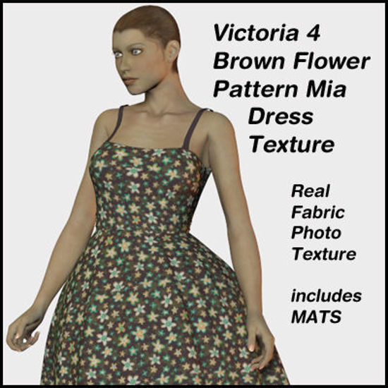 Picture of Brown with Flowers Mia Dress Texture for Victoria 4