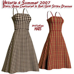 Black/Beige Checkered & Red/Gold Stripe Dresses for Victoria 4