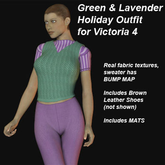 Picture of Green and Lavender Holiday Outfit for Victoria 4