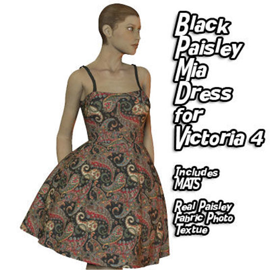 Picture of Black Paisley Print Mia Dress for Victoria 4