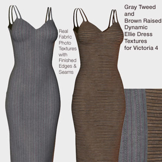 Picture of Gray Tweed and Brown Raised Dynamic Ellie Dress Textures for Victoria 4