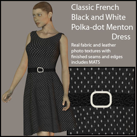Picture of Classic French Black and White Polka-dot Menton Dress for Victoria 4