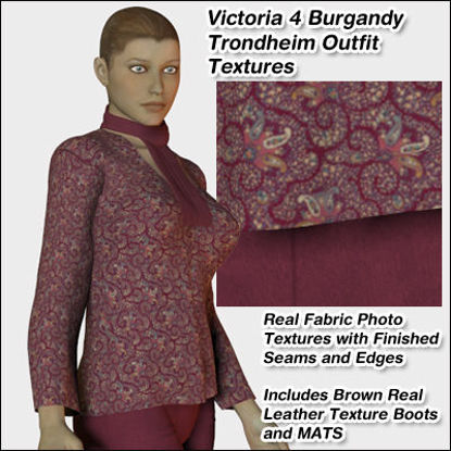 Picture of Burgundy Trondheim Outfit Textures for Victoria 4