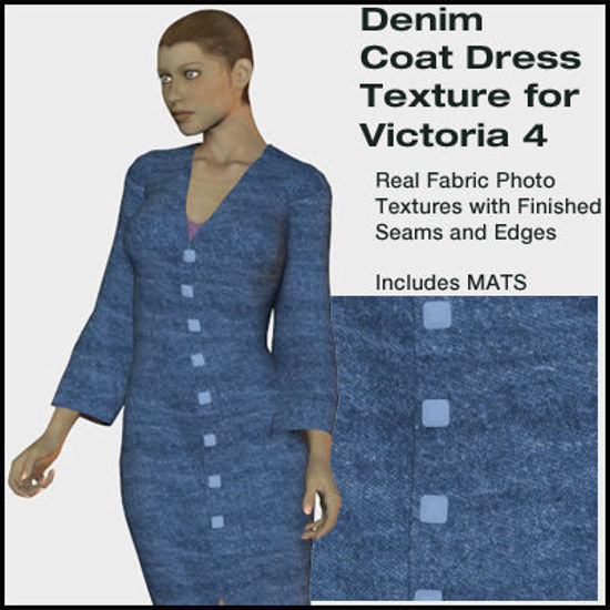 Picture of Denim Coat Dress Texture for Victoria 4