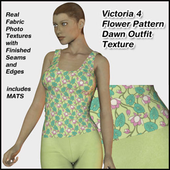 Picture of Green Flower Pattern Dawn Outfit Textures for Victoria 4