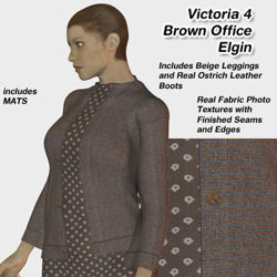 Brown Office Elgin Outfit Textures for Victoria 4
