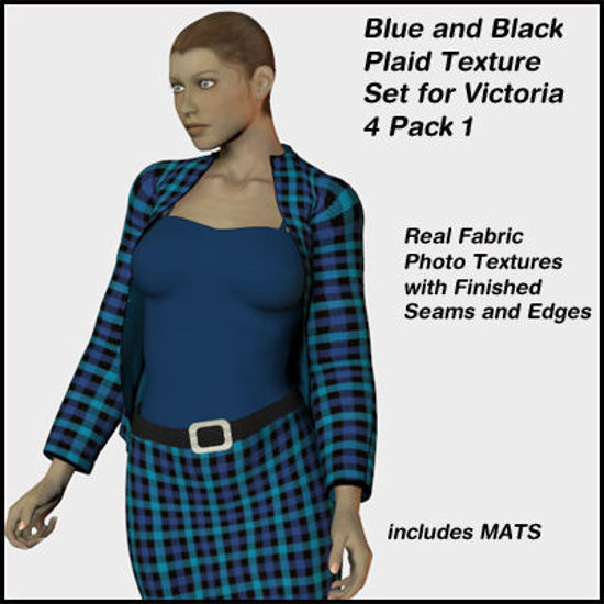 Picture of Black and Blue Plaid Set for the Victoria 4 Clothing Pack 1