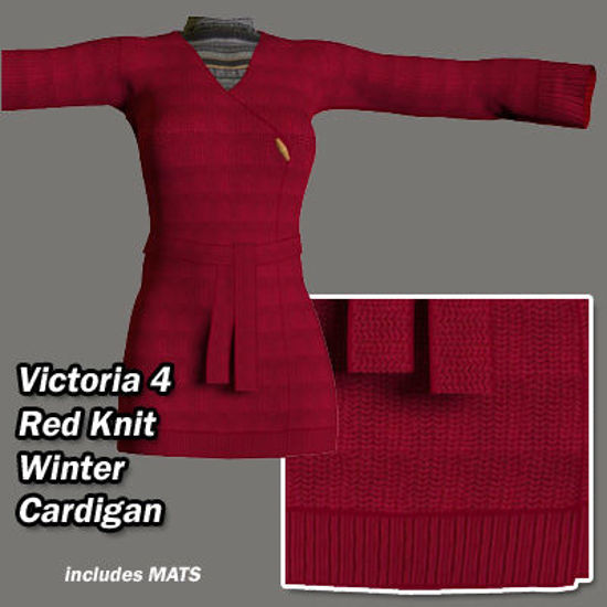 Picture of Red Knit Winter Cardigan for Victoria 4