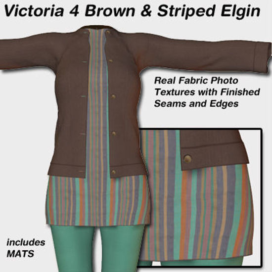 Picture of Brown and Striped Elgin Outfit for Victoria 4
