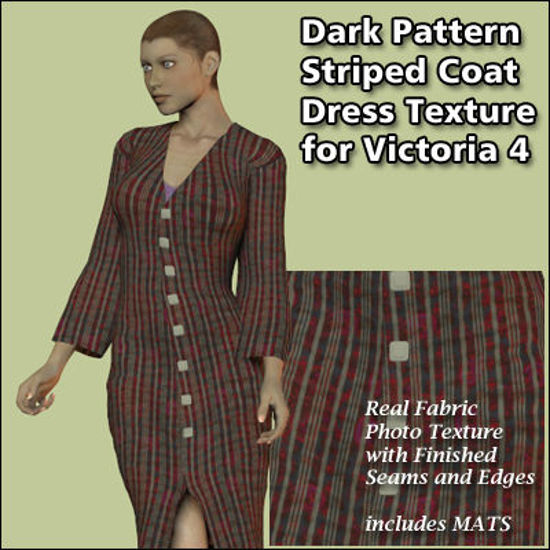 Picture of Dark Pattern and Striped Coat Dress Texture for Victoria 4
