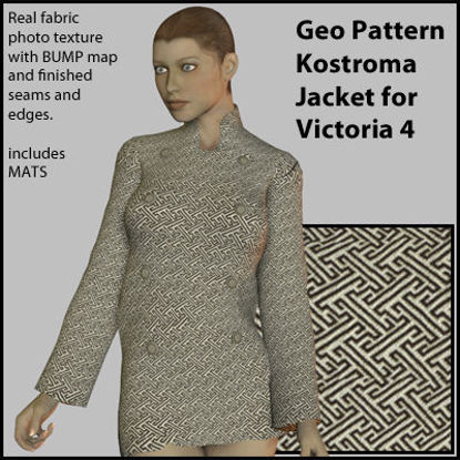 Picture of Geo Pattern Komostra Coat for Victoria 4