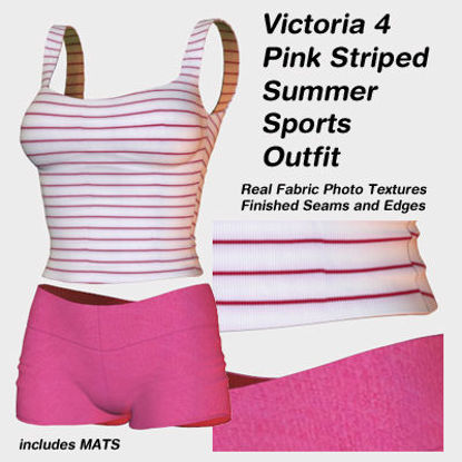 Picture of Pink Striped Summer Sports Outfit for Victoria 4