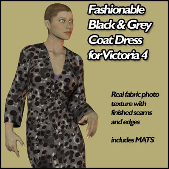 Picture of Fashionable Black and Grey Pattern Coat Dress for Victoria 4