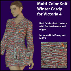 Multi-Color Knit Winter Cardy for DAZ Victoria 4 - V4-MultiC-WinterCardy