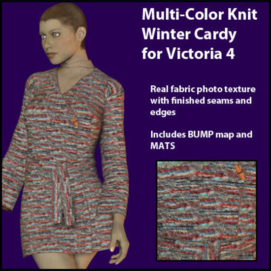 Picture of Multi-Color Knit Winter Cardy for DAZ Victoria 4 - V4-MultiC-WinterCardy