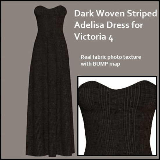 Picture of Dark Woven Striped Adelisa Dress for Victoria 4