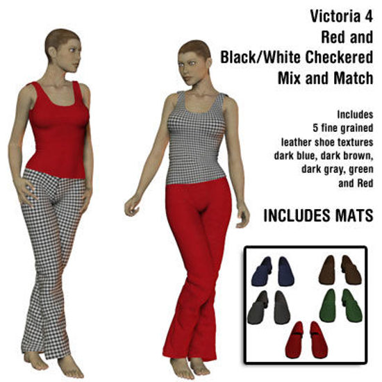 Picture of Red and Black & White Checkered Mix and Match Dawn Outfit