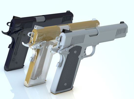 Picture of Three .45 Pistol Models - Dark, Silver and Gangsta with Silencers - Poser and DAz Studio Format