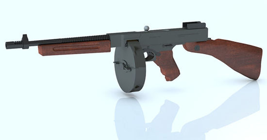 "Picture of Thompson ""Tommy"" Sub-Machine Gun Model in Poser / DAZ Studio Format"
