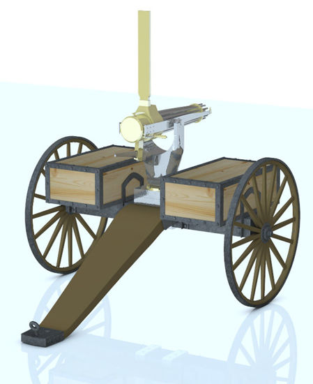 Picture of 1800's Horse Drawn Gatling Gun Weapon Model - Poser / DAZ Studio Format