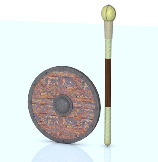 Picture of Viking Shield and Decorative Fighting Mace Weapon Props